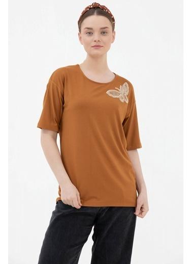 Sementa Yarasa Kol Kelebek Aksesuarlı Tshirt - Tarçın Kahve